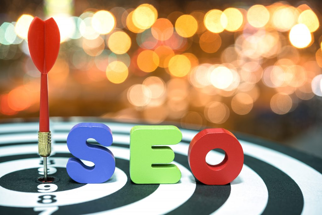 Search Engine Optimization target marketing concept over bokeh b